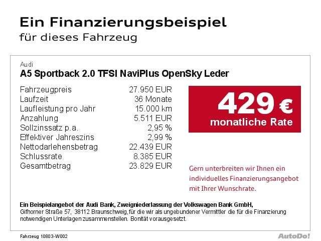 Audi A5 Sportback 2.0 TFSI NaviPlus OpenSky Leder Navi